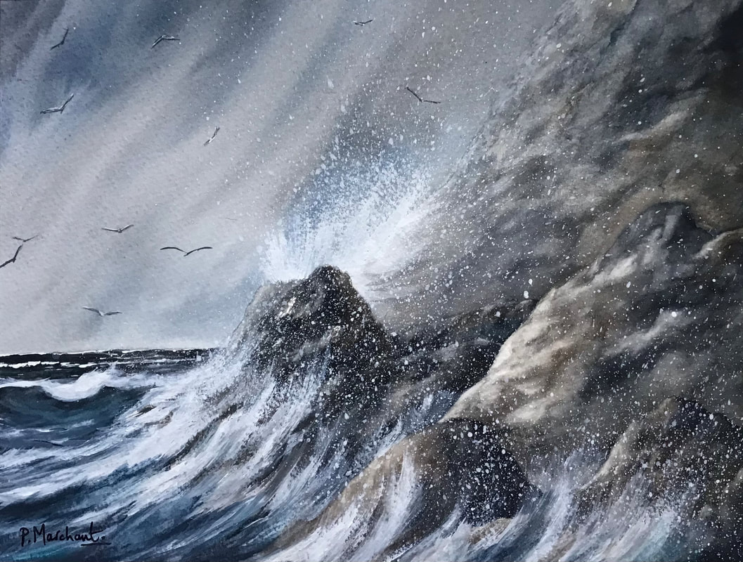 seascape, storm, stormy, crashing, waves, rocks, coastline, rocky, pam marchant, watercolour, painting, artwork, art, Picture