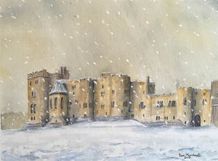 castle, alnwick, northumberland, snow, winter, snowfall, watercolour, painting, artwork, pam marchant,