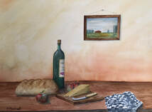 still life, wine, bottle, apples, cheese, kitchen, watercolour, painting, artwork, pam marchant,