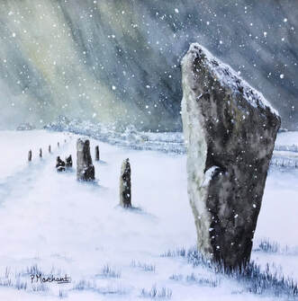 avebury, avenue, wiltshire, painting, art, artwork, watercolour, standing stones, snow, winter, snowfall, snowing, pam marchant, artist,Picture