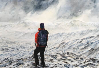 painting, artwork, mountains, walker, walking, hiking, nature, view, landscape, pam marchant,