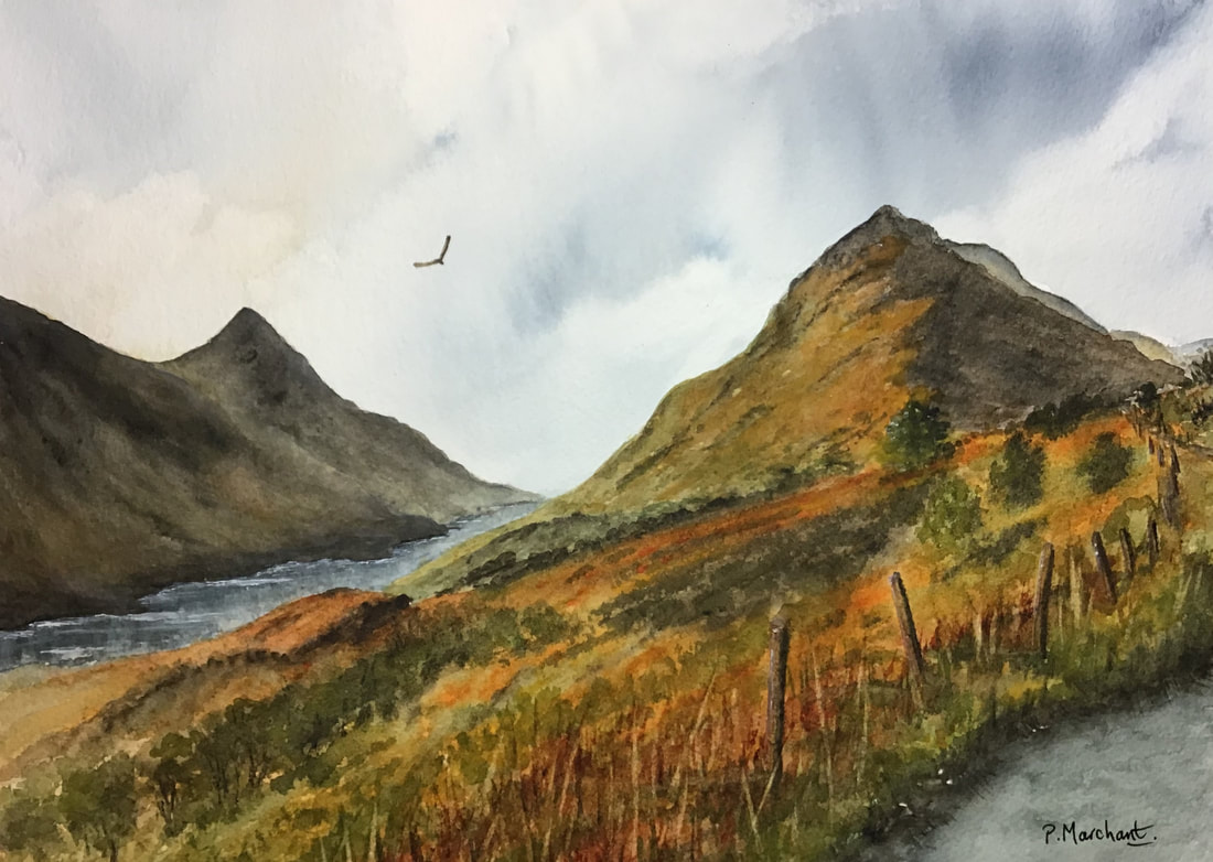 scotland, glencoe, highlands, mountains, watercolour, art, painting, marchant