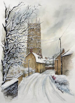Calne, wiltshire, snow, winter, christmas, painting, art, pam marchant