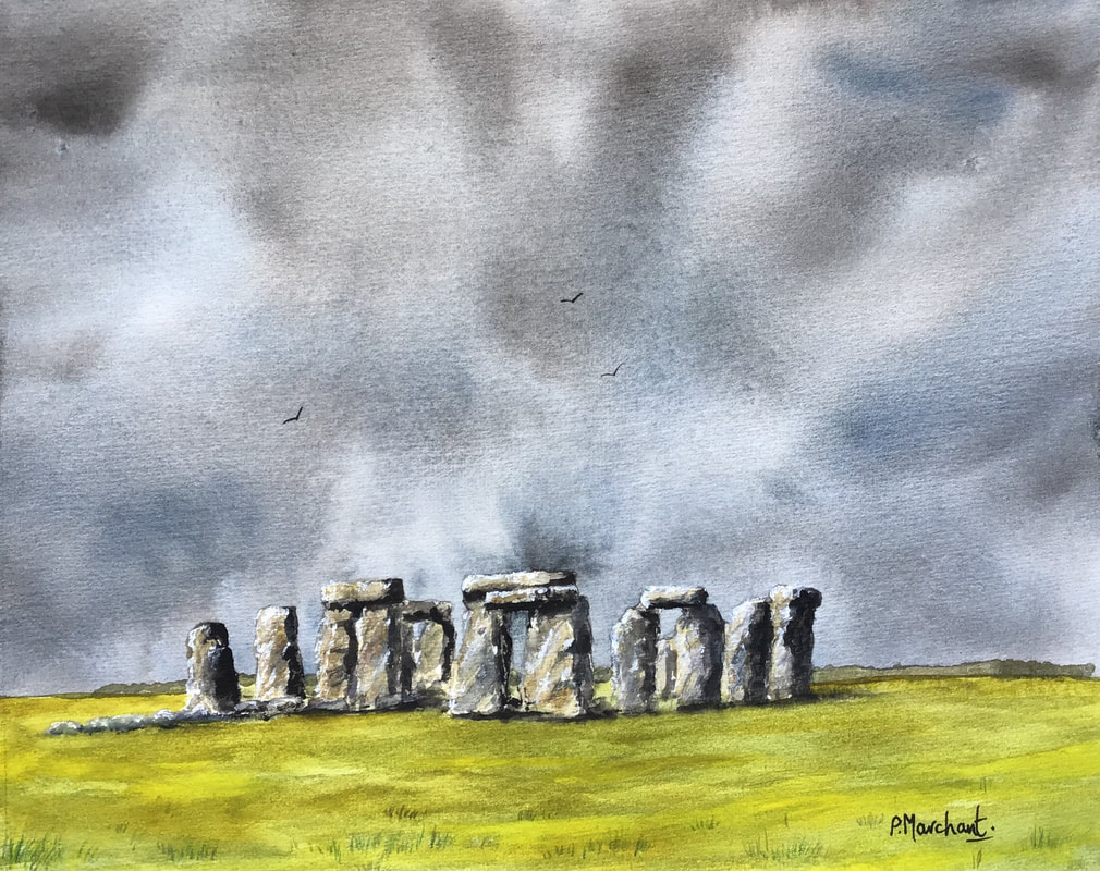 Stonehenge, wiltshire, watercolour, painting, artwork, storm, rain, sun sky, stormy, dramatic, stones, pam marchant,
